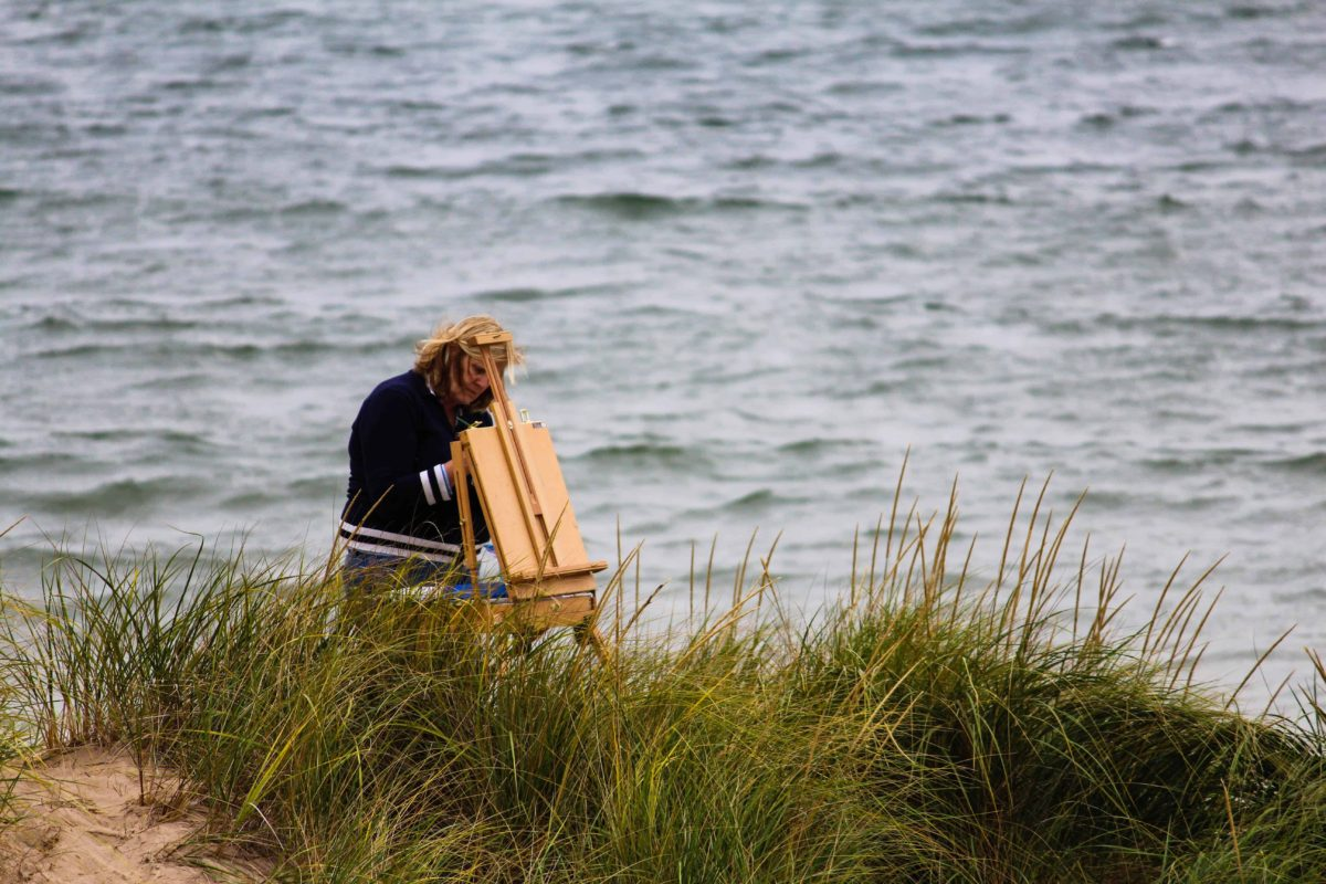 plein air easel at the ocean