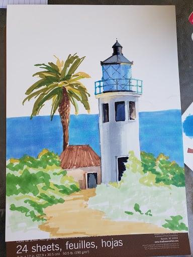 VeryCreate.com lighthouse outline + more color but no background
