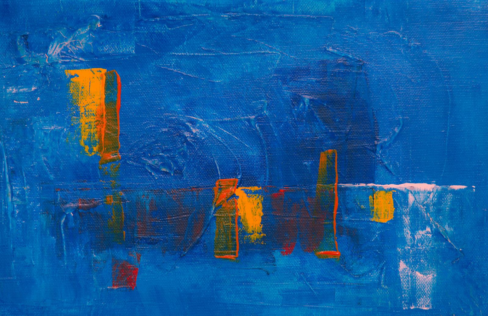blue acrylic painting with orange tones