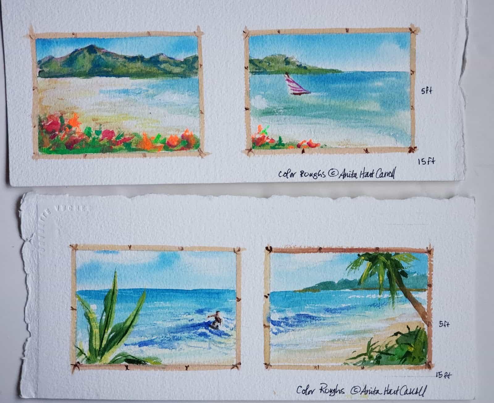 Hot Press or Cold Press Watercolor - Image 5 arches 300lb color roughs