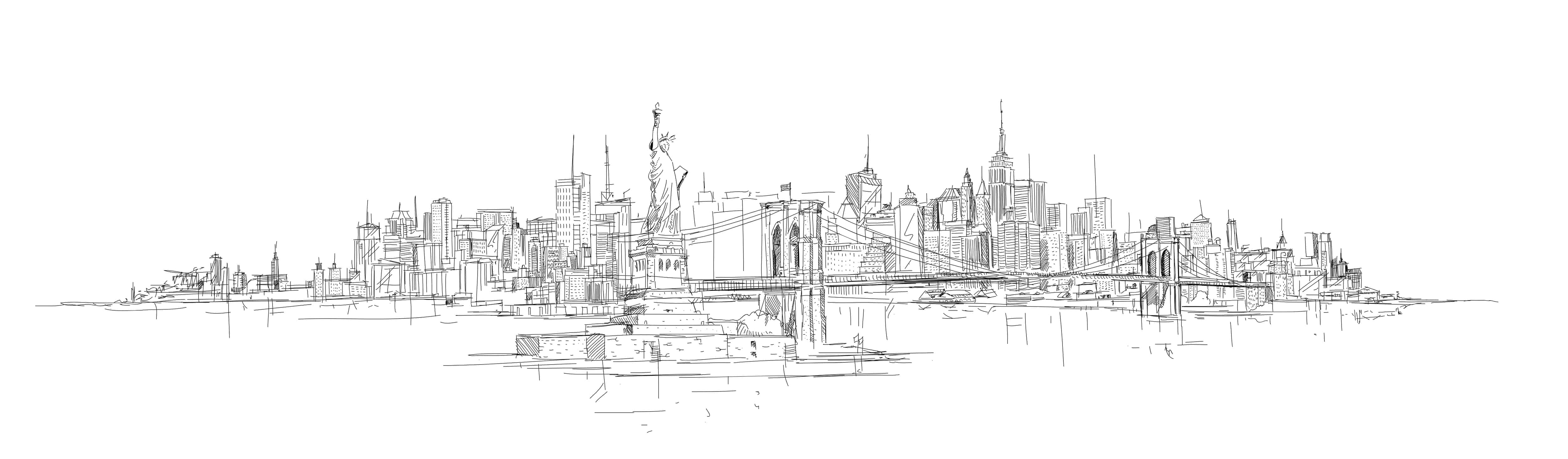 New York City Skyline Sketch VeryCreate.com