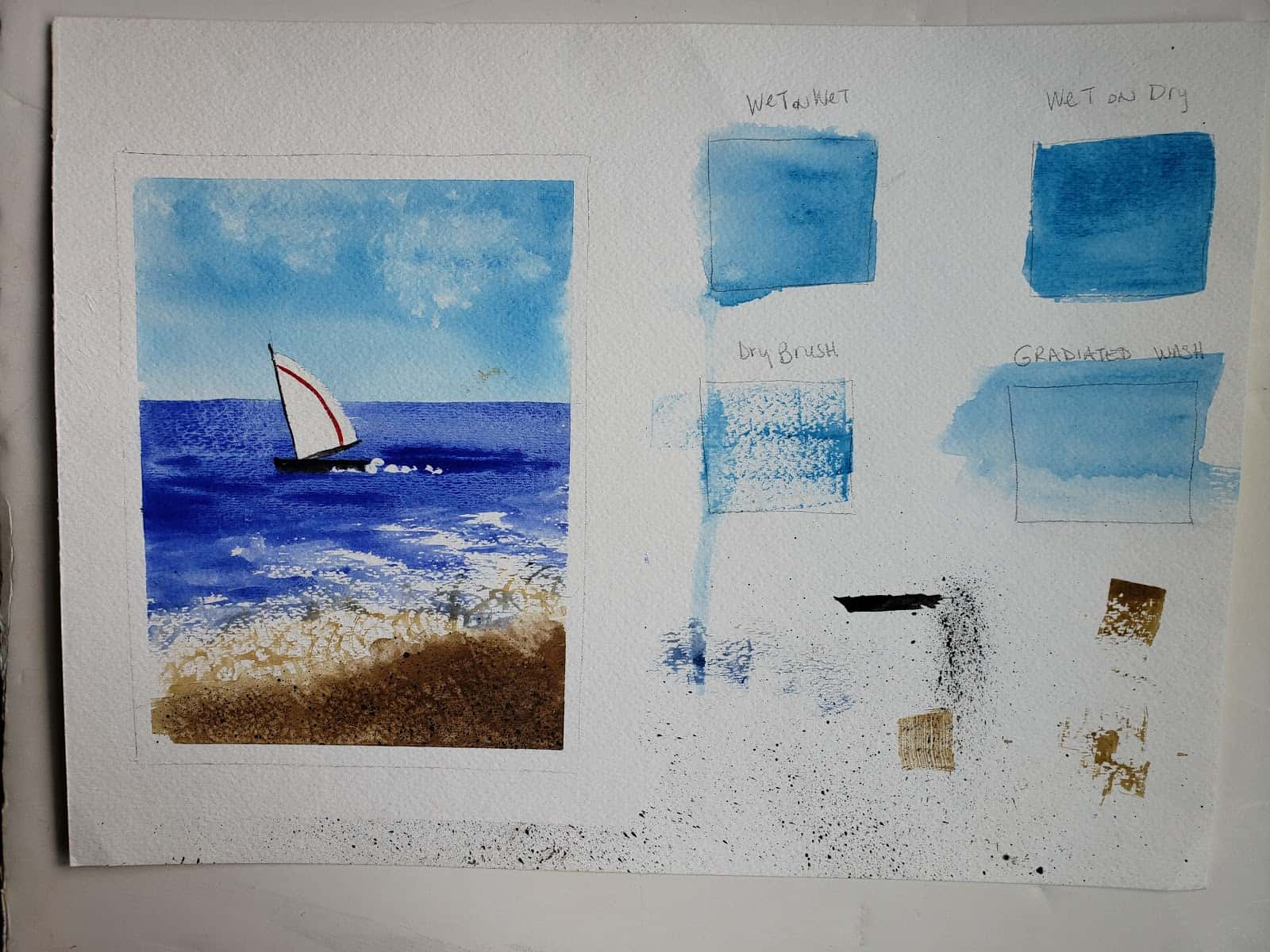 One sailboat seascape wc with teaching samples of techniques