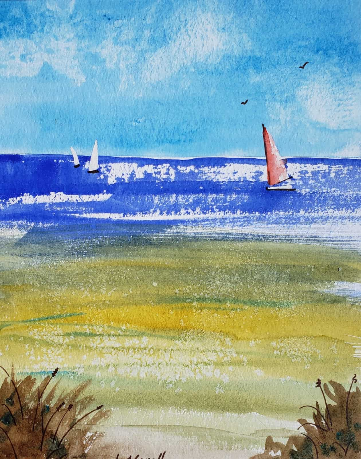 Beginner seascape watercolor with three sailboats on coldpress paper using several texturing techniques