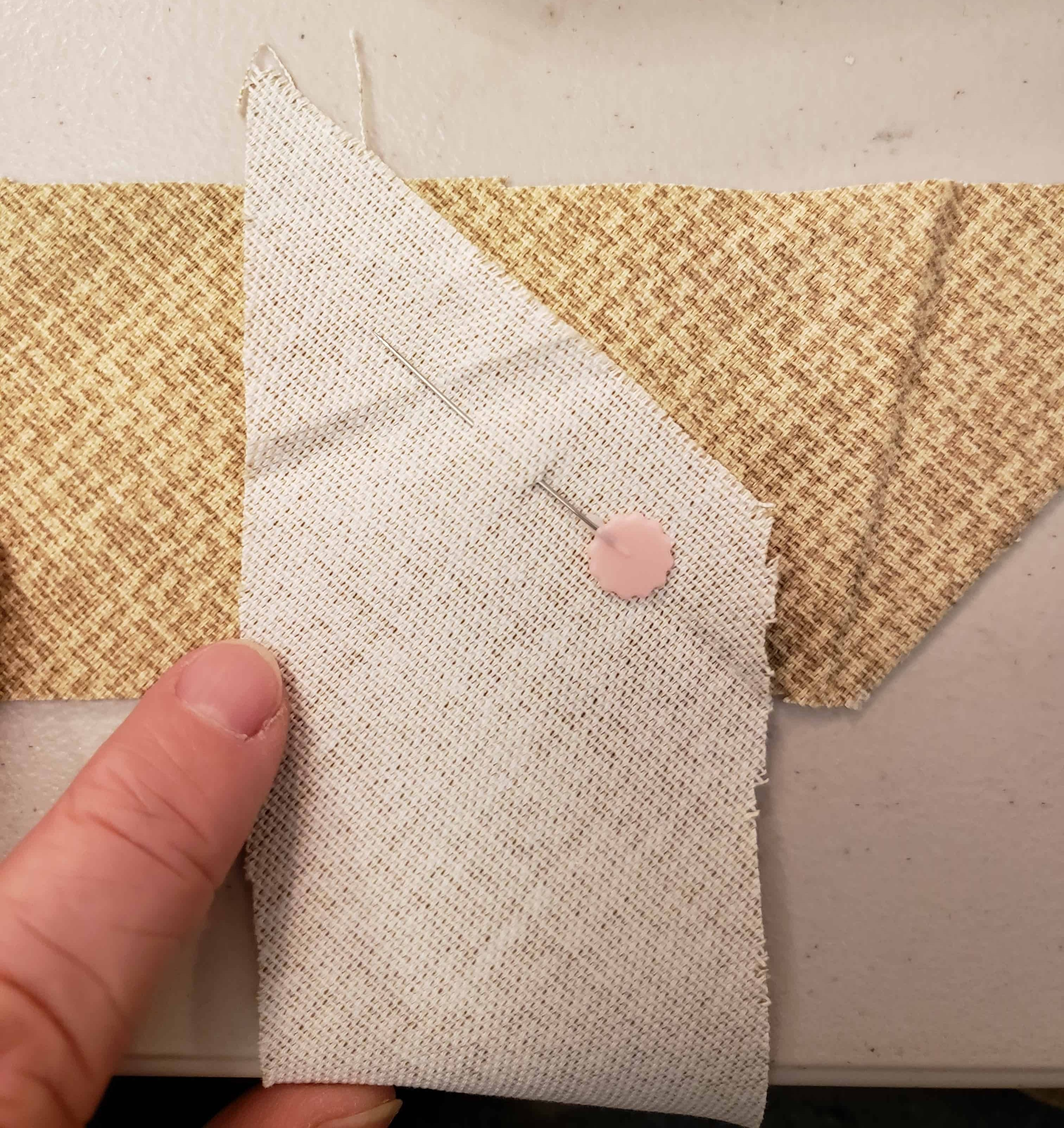 Placing piping stips together to sew into one long strip