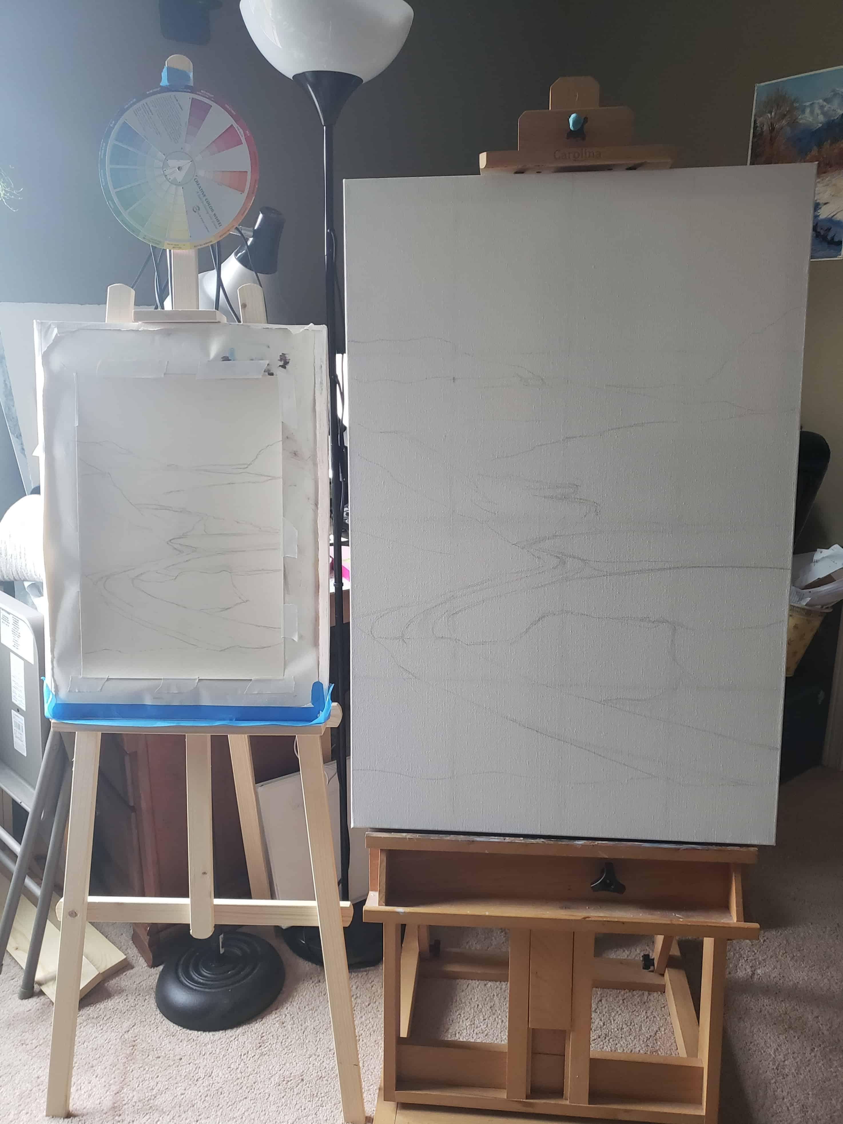 pastel grey sketch on surfaces