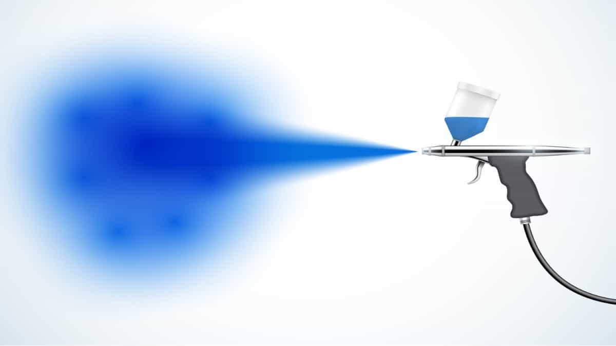 Airbrush drawing with blue spray verycreate.com