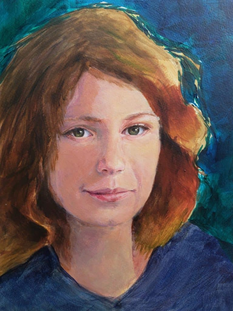 hair rough in painting a portrait in acrylic verycreate.com