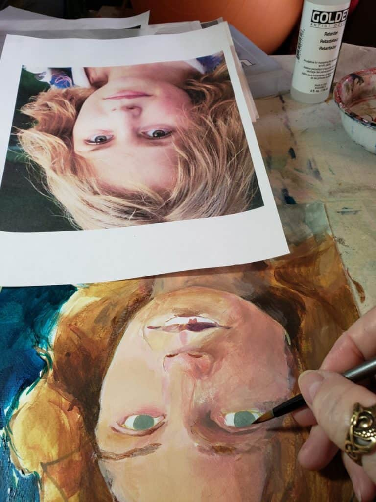 upside down painting a portrait in acrylic verycreate.com