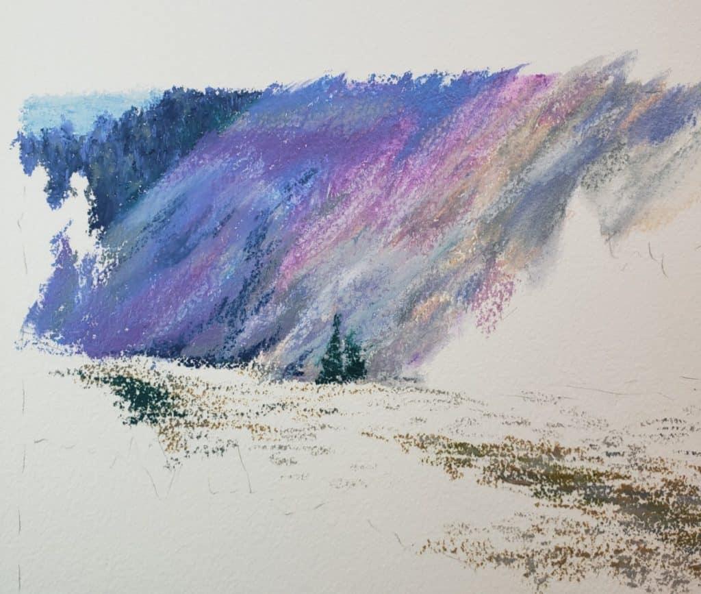 OMS blend hill landscape in oil pastel verycreate.com