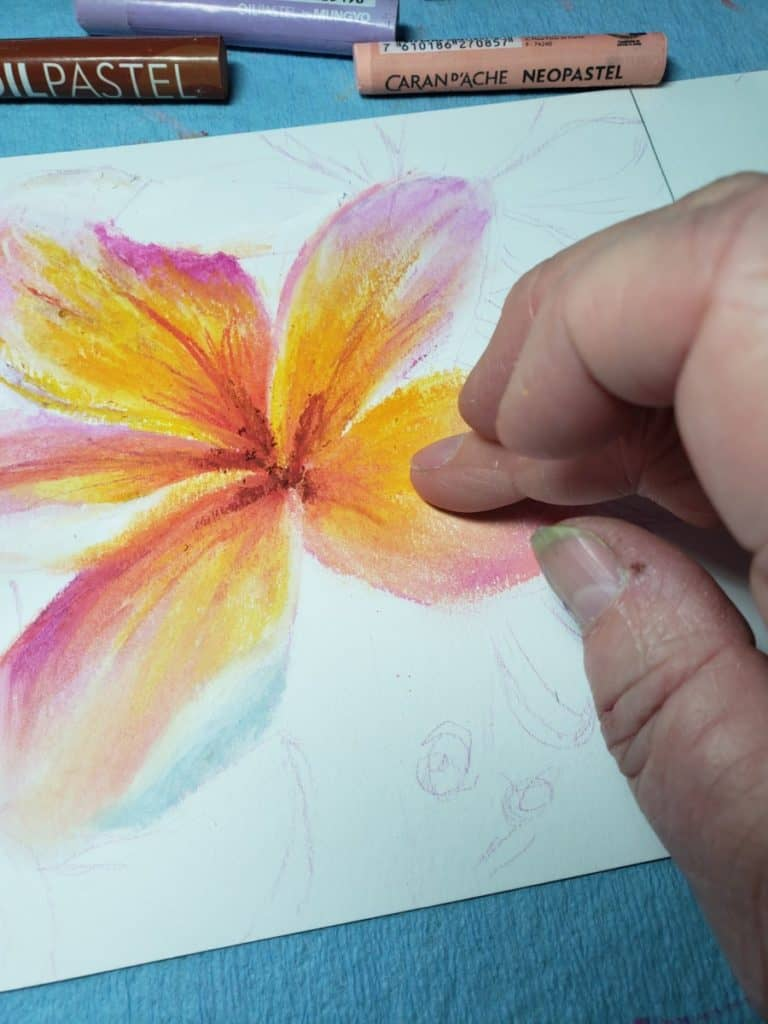 finger blend colors Flower Painting with Oil Pastels verycreate.com