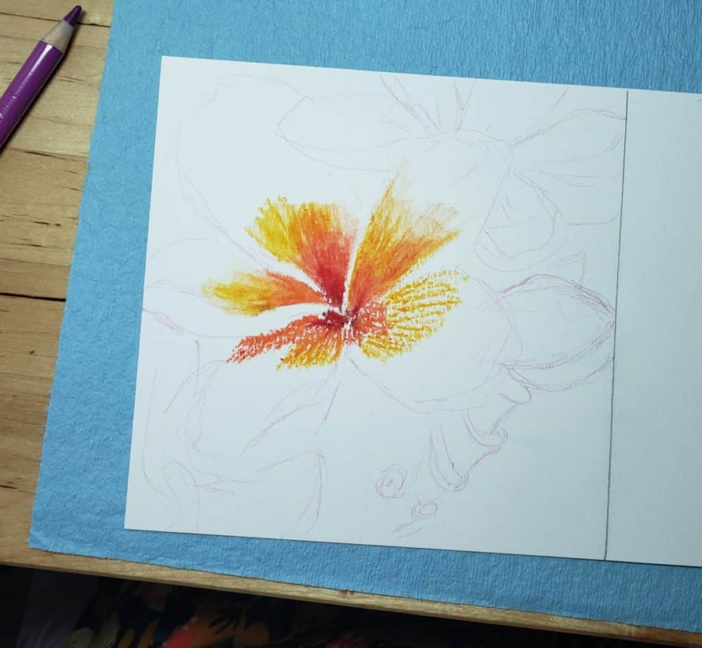 step one Flower Painting with Oil Pastels verycreate.com