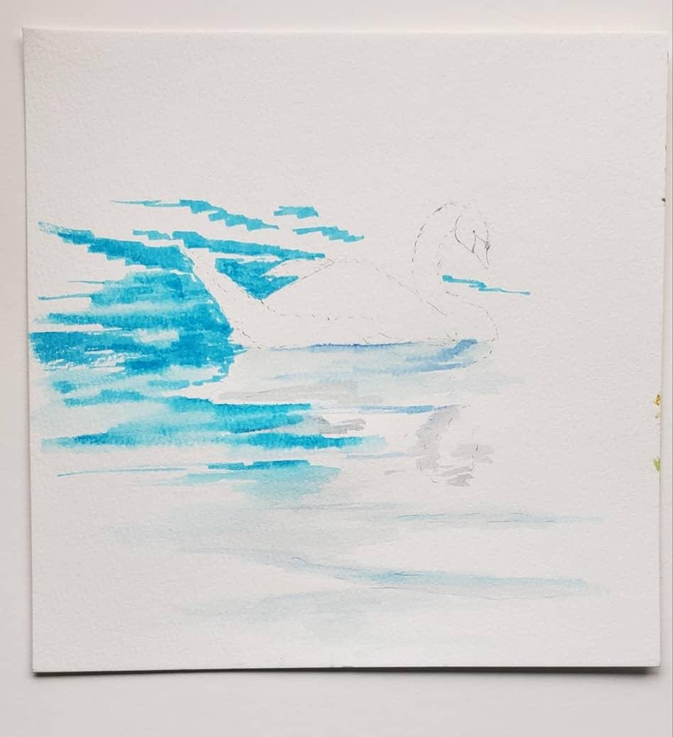 step two swan watercolor tutorial with watercolor pens verycreate.com