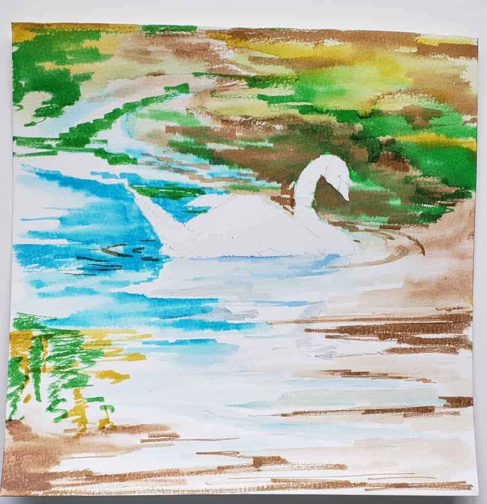 step five swan watercolor tutorial with watercolor pens verycreate.com