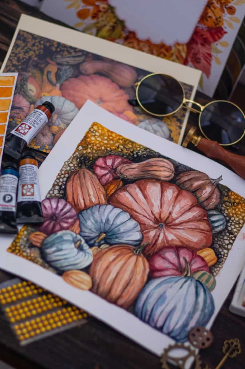 fall illustration gouache goache vs watercolor verycreate.com