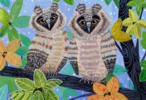 owls stylized illustration gouache vs watercolor verycreate.com