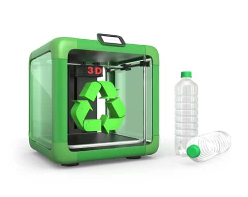 3D Printer Pet Bottles And Recycle Mark Isolated On White
