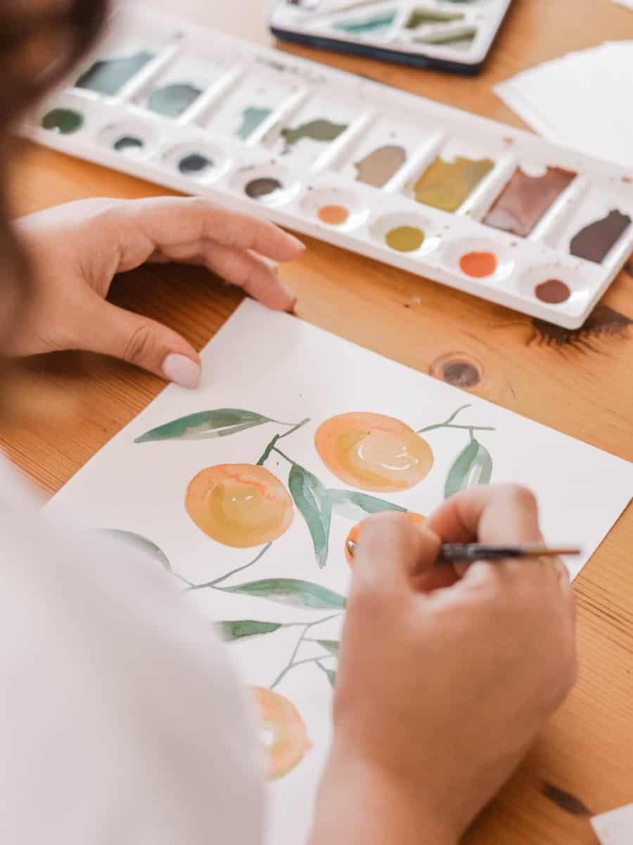 gouache peach over the shoulder gouache vs watercolor verycreate.com