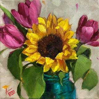 tulips and sunflower krista eaton verycreate.com
